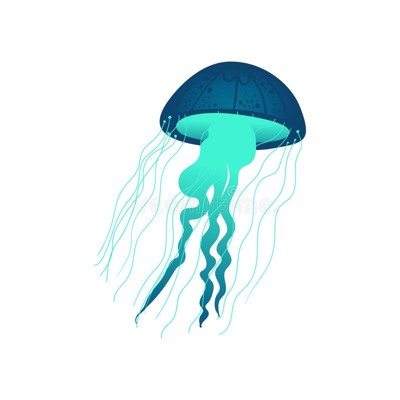 Blue and green hand drawn jellyfish with glowing texture vector illustration