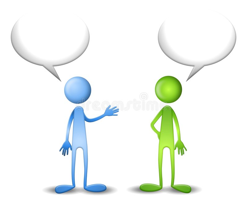 Blue and Green Have a Talk vector illustration