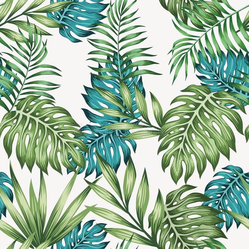 Blue and green leaves seamless royalty free illustration