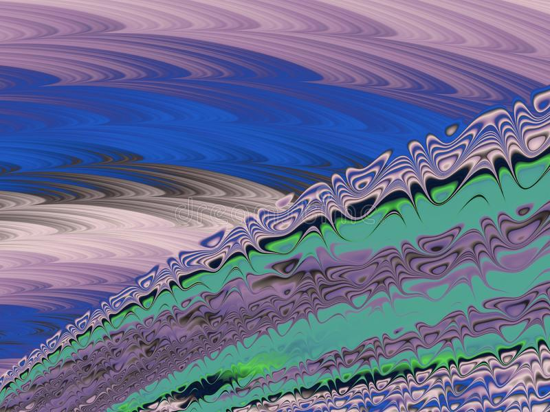 Blue, green and lilac abstract textured fractal lines and waves , 3d render for poster, design and entertainment. Background for. Brochure, website and flyer stock illustration