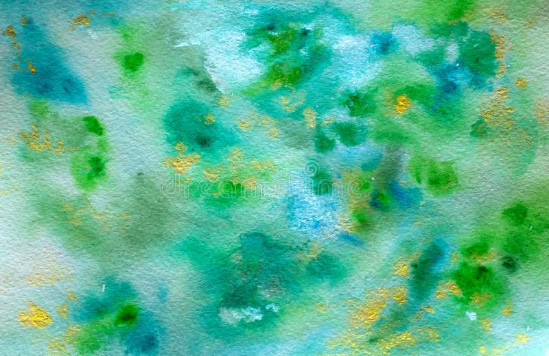 Blue green luminous turquoise handmade abstract watercolor background. For postcards, posters, wallpaper, banners stock images