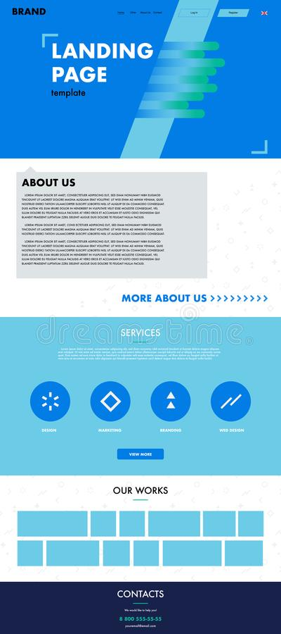 Blue and green modern landing page template stock image