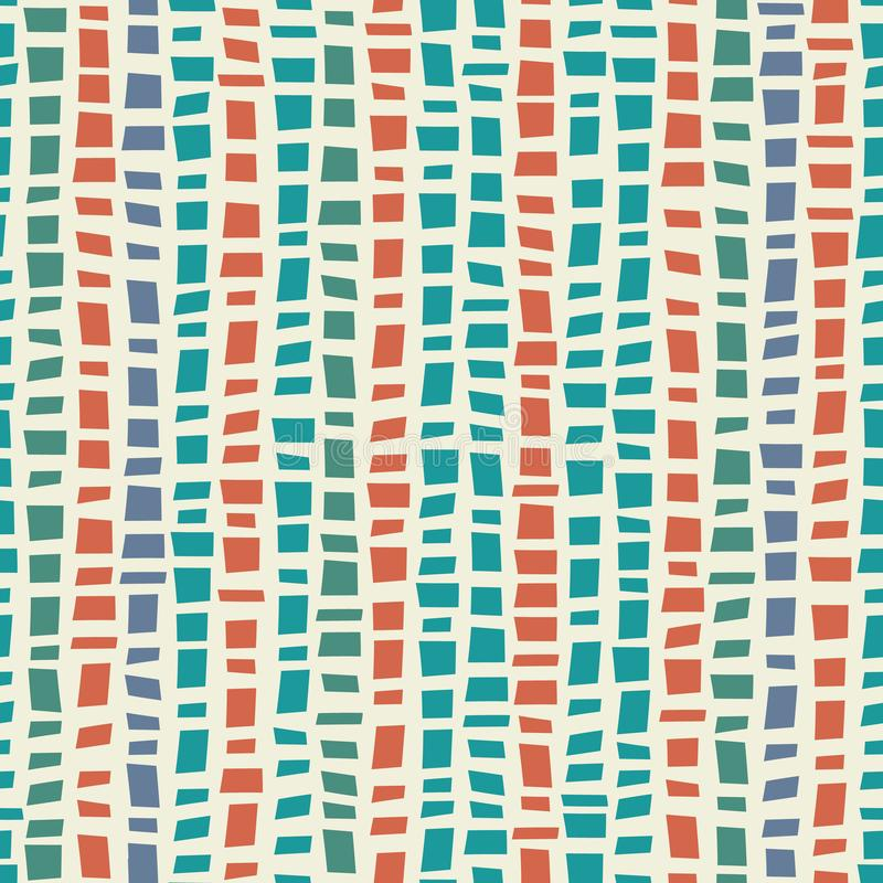 Blue, green mosaic terrazzo style vertical striped design with accent coral colour. Seamless vector pattern on cream royalty free illustration