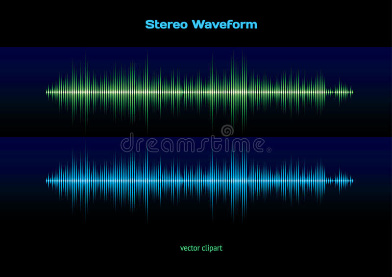 Stereo waveform. Blue and green music or sound stereo waveform stock illustration