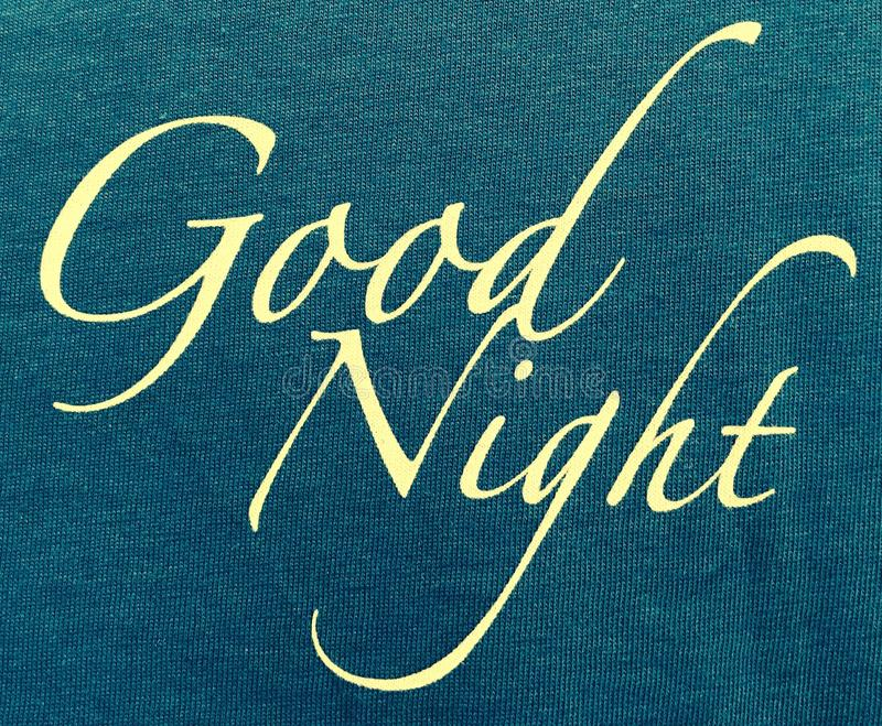 Good night. This is the blue green pattern with the good night logo stock photos