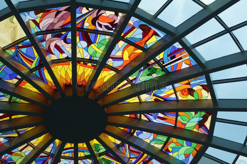 Blue Green And Pin Stained Glass Roof Decor Free Public Domain Cc0 Image