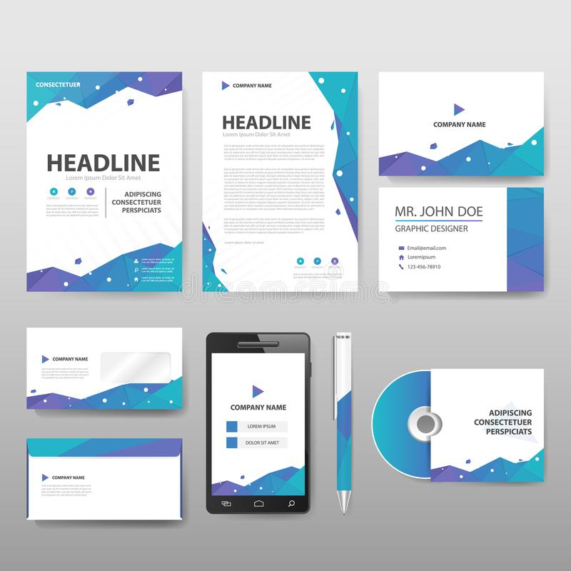 Blue green purple Polygonal staionery corporate identity set template stock illustration