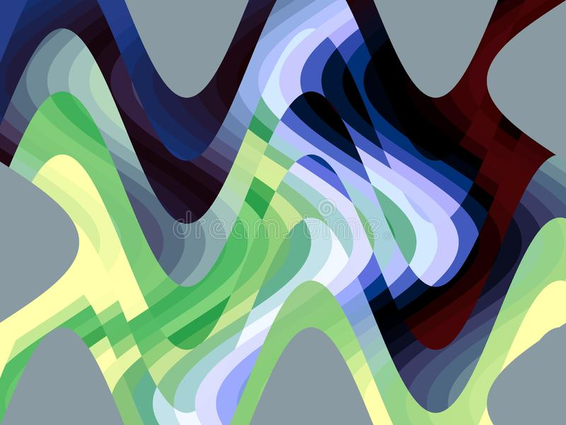 Blue green red liquid geometries shapes texture, abstract background royalty free illustration