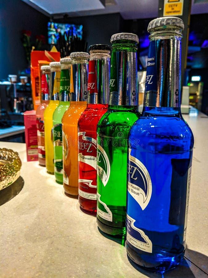 Coloured bottles royalty free stock photos