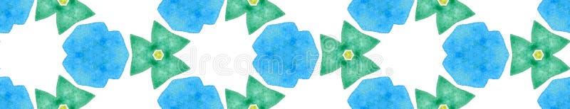 Blue green retro Seamless Border Scroll. Geometric vector illustration