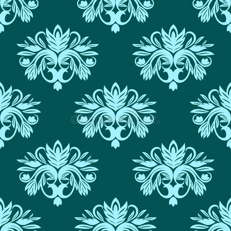 Blue and green seamless floral pattern stock illustration
