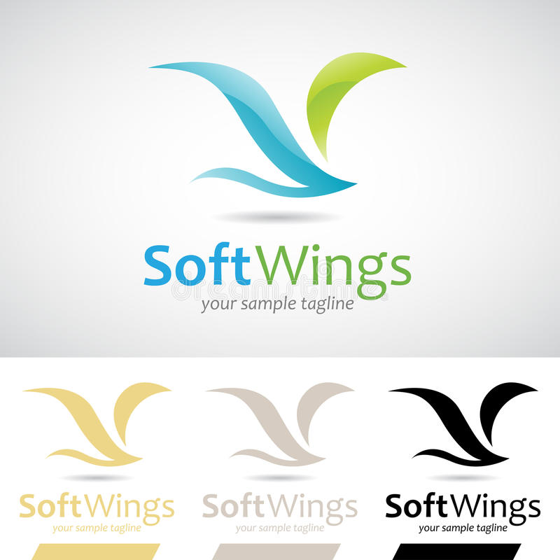 Blue and Green Soft Wings Bird Logo Icon vector illustration
