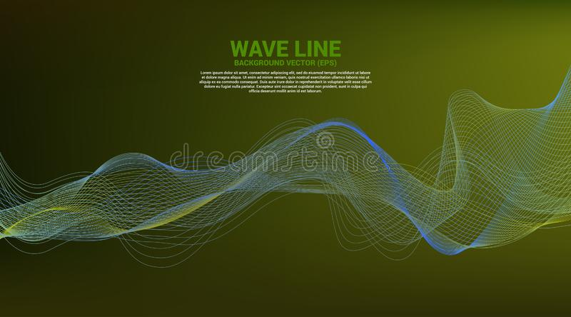 Blue And Green Sound Wave Line Curve On White Background