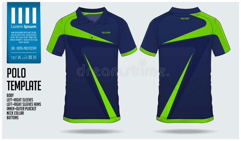 Blue and green stripe Polo t-shirt sport template design for soccer jersey, football kit Sport uniform in front view. stock illustration