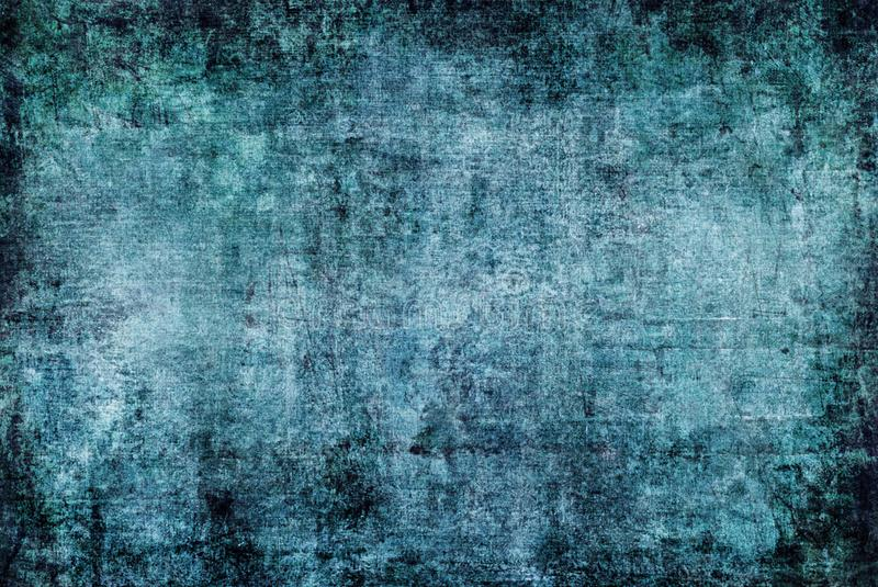 Dark Abstract Painting Blue Green Grunge Rusty Distorted Decay Old Texture for Autumn Background Wallpaper. Blue Green Strokes Brush Scratch Abstract Canvas royalty free stock image