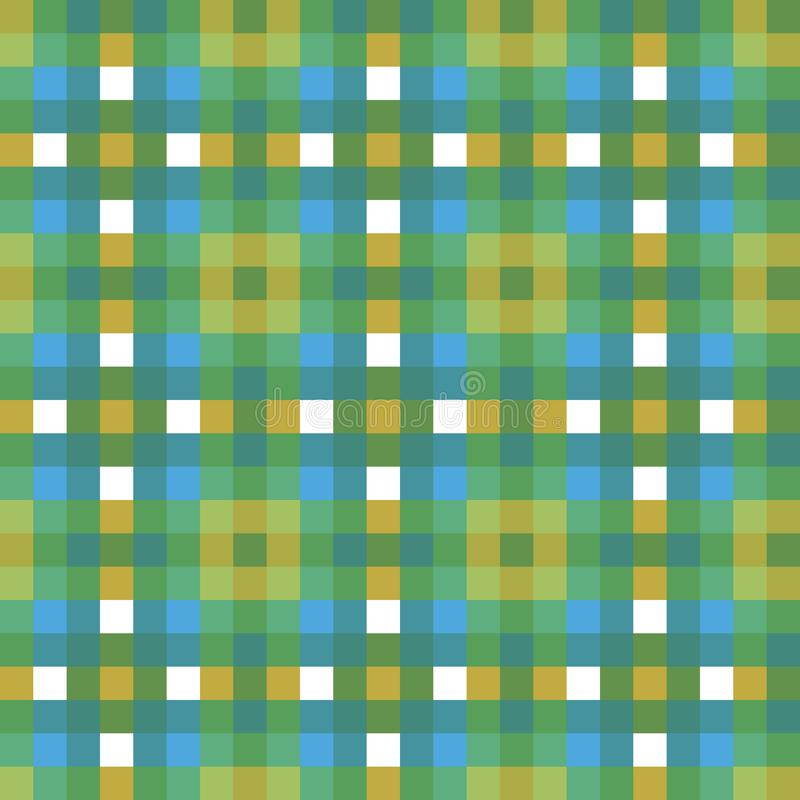 Blue green tartan plaid check fabric texture square pixel seamless vector pattern for fabric, wallpaper, scrapooking royalty free illustration