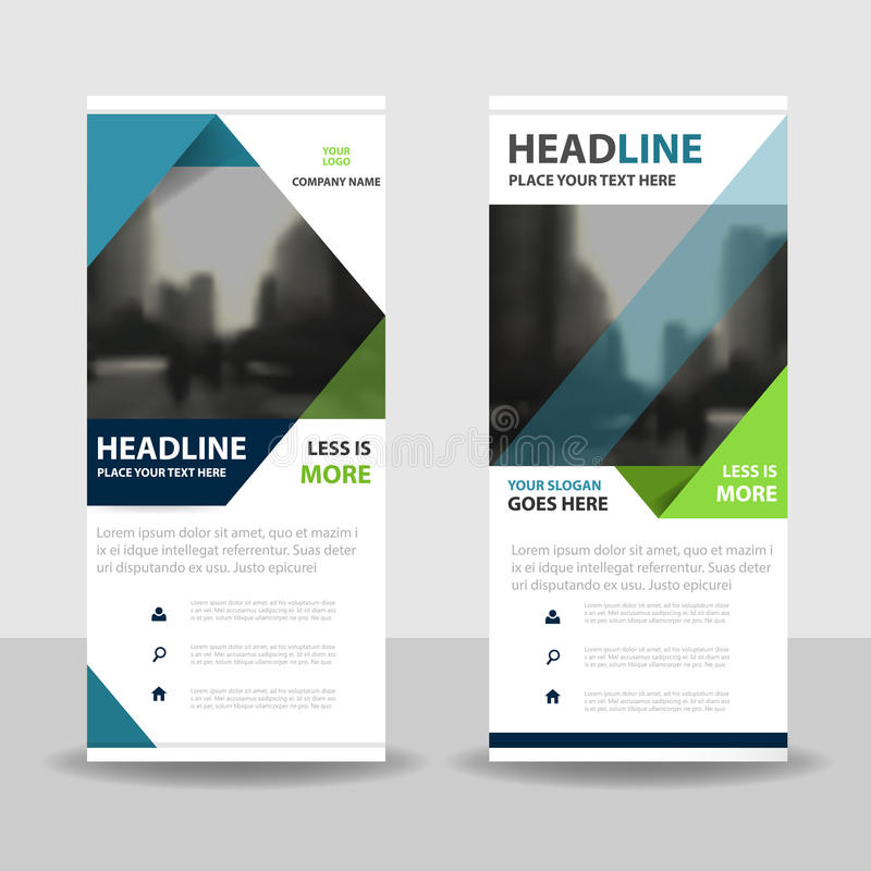 Blue green triangle roll up business brochure flyer banner design , cover presentation abstract geometric background stock illustration
