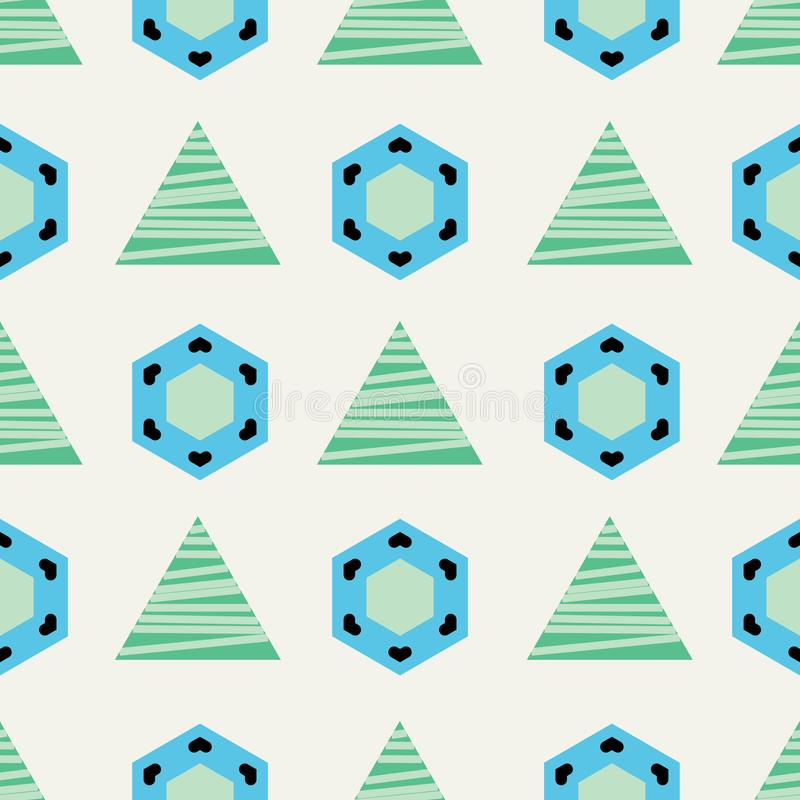 Blue and green triangles and hexagons on beige background seamless pattern. royalty free illustration