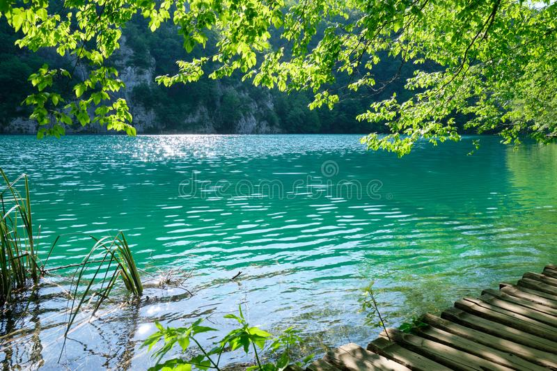 Blue/green, turquoise water in the morning, at Plitvice Lakes, Croatia, as seen from the wooden boardwalk bridge for tourists. stock photo