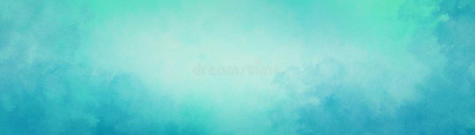 Blue green watercolor background with texture and abstract white center and cloudy painted border stock photo