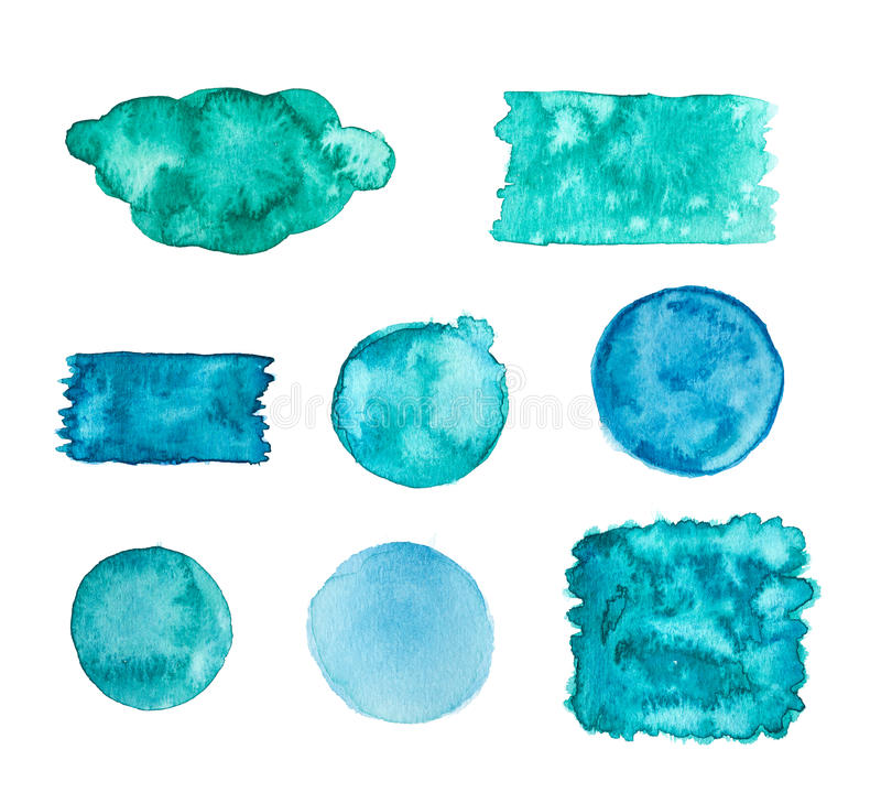 Blue green watercolor banners. Isolated on a white background royalty free illustration