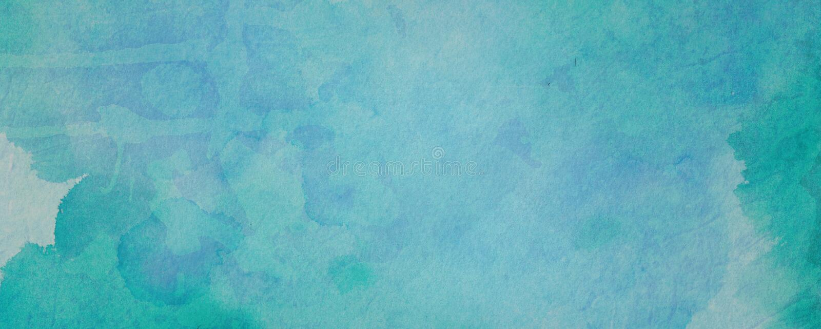 Blue green watercolor paint splash or blotch background with fringe bleed wash and bloom design, blobs of paint on watercolor pape stock photos