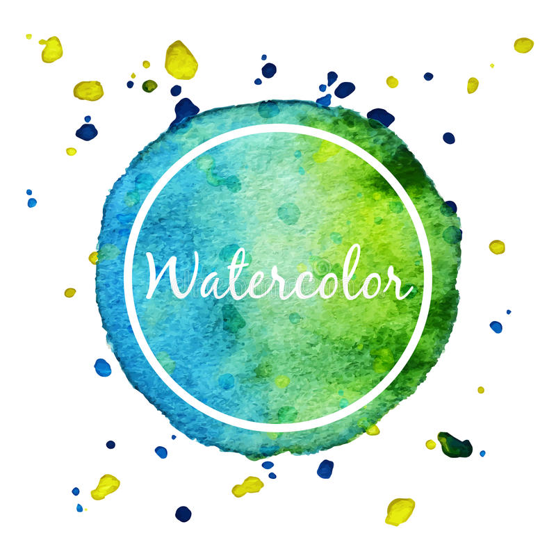 Blue and green watercolor splash circle background stock illustration
