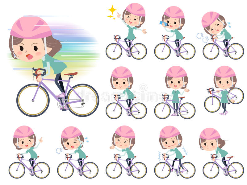Blue-green wear Middle woman ride on rode bicycle. Set of various poses of Blue-green wear Middle woman ride on rode bicycle royalty free illustration