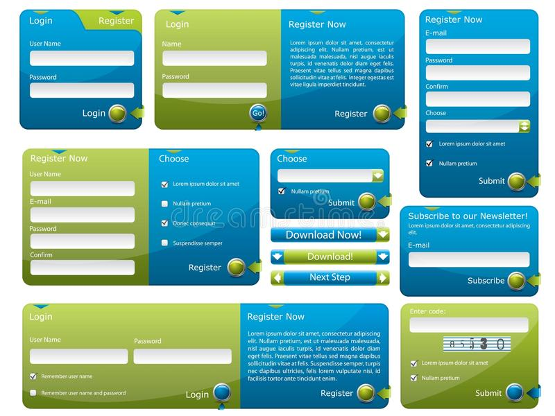 Blue and green web form. Template