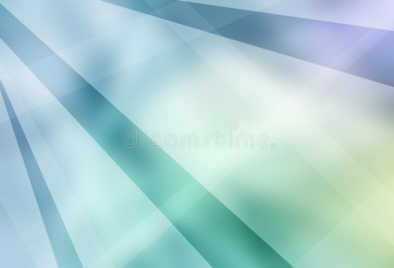 Blue green and white abstract background with modern white geometric stripes layers and lines in a random classy design with blurr royalty free illustration