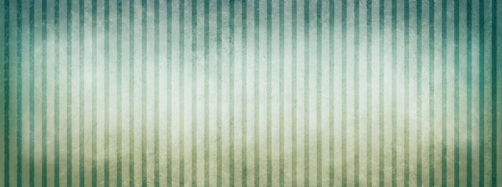 Blue green and white beige striped background with vintage texture design and vignette borders. Vintage blue green and white striped background design with faded stock illustration
