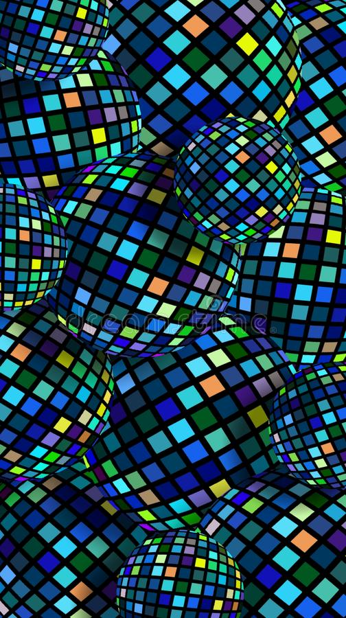 Blue green yellow pixels textured balls 3d background. Colorful shimmer disco balls pattern. stock photo