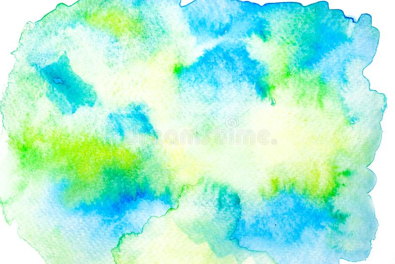 Blue, Green and Yellow watercolor painting background. Blue, Green and Yellow watercolor painting on white background. Watercolor painting background stock photography