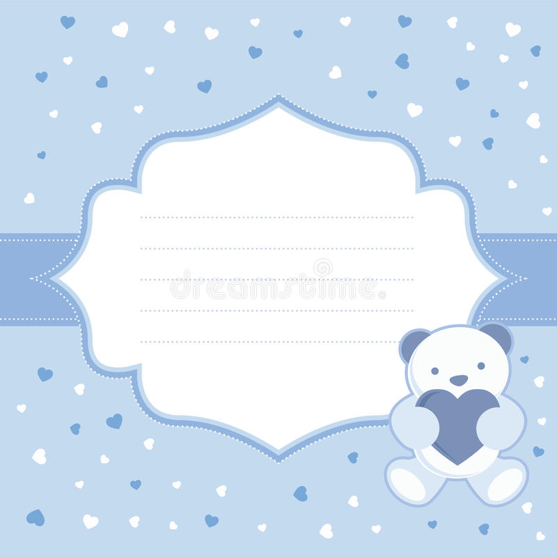 Blue greeting card with teddy bear for baby boy. B vector illustration