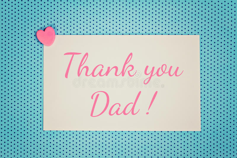 Blue Greeting card thank you dad stock illustration