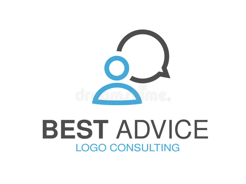 Blue grey brand for consulting agency, best advice. Logo design with symbol of speech bubble and man. Illustration royalty free illustration