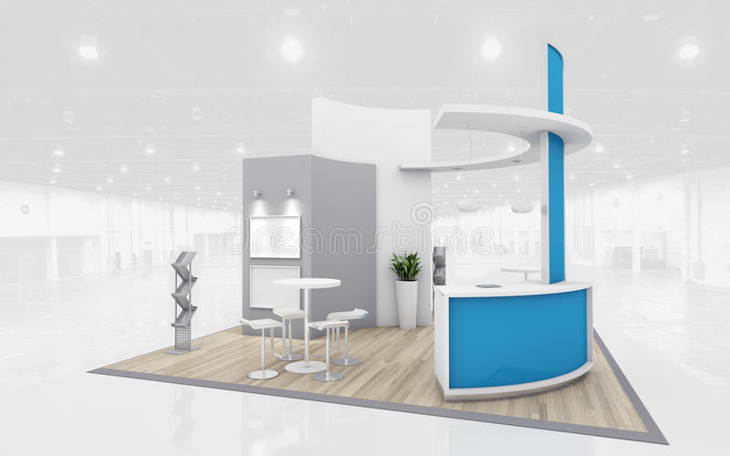 Exhibition Stand Design Illustrator : Blue and grey exhibition stand d rendering stock
