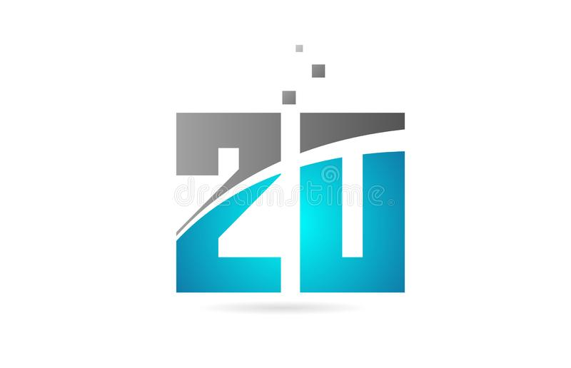 Blue grey number 20 for logo icon design. Blue grey number 20 logo design suitable for a company or business royalty free illustration