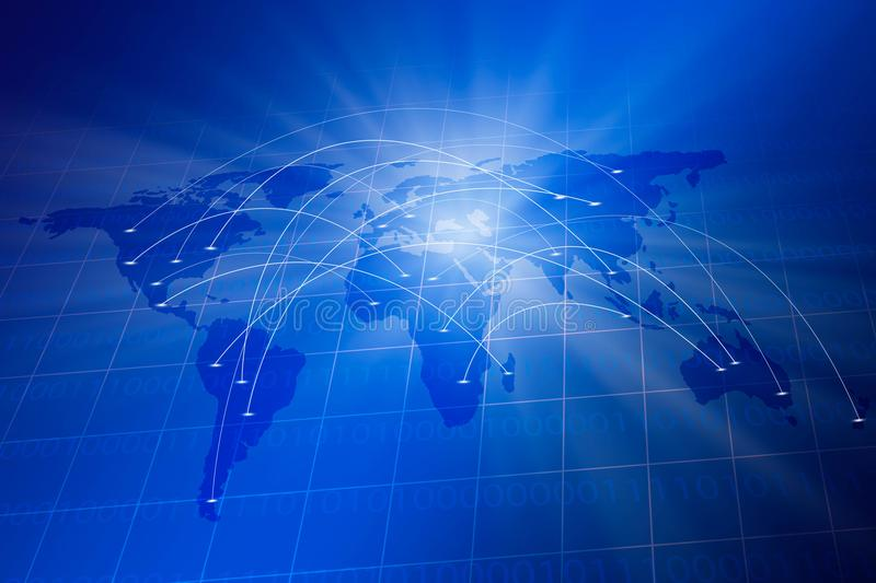 Blue grid with world map,binary code and digital connection communication royalty free illustration