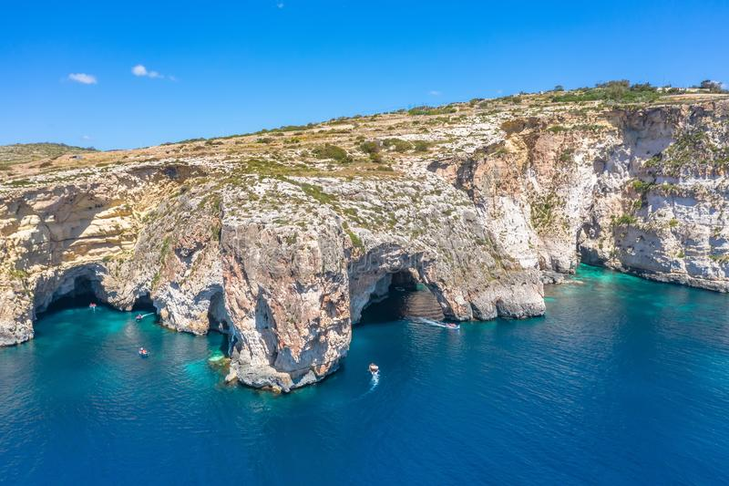 Blue Grotto in Malta, aerial view from the Mediterranean Sea to the island royalty free stock images