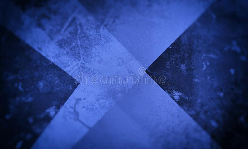 Blue grunge background texture with layers of stripes and triangles in abstract modern design stock illustration