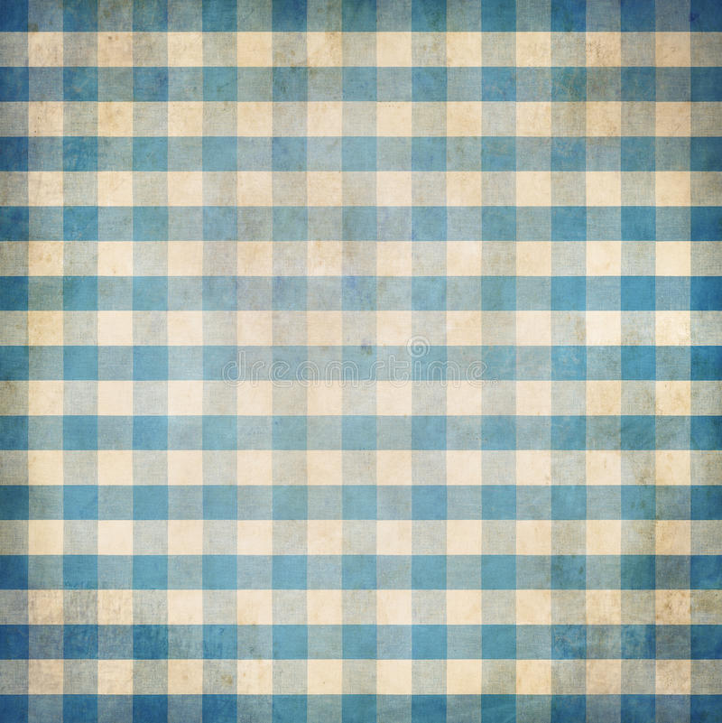 Blue grunge checked gingham picnic tablecloth background. Old blue grunge checked gingham picnic tablecloth background stock photo