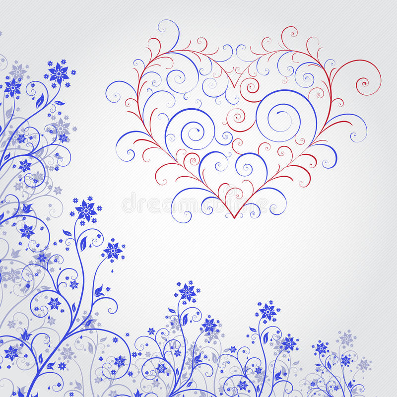 Blue grunge flower with heart royalty free illustration