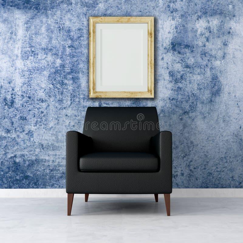 Blue grunge interior vector illustration
