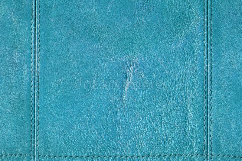 Blue grunge leather with seams royalty free stock photography