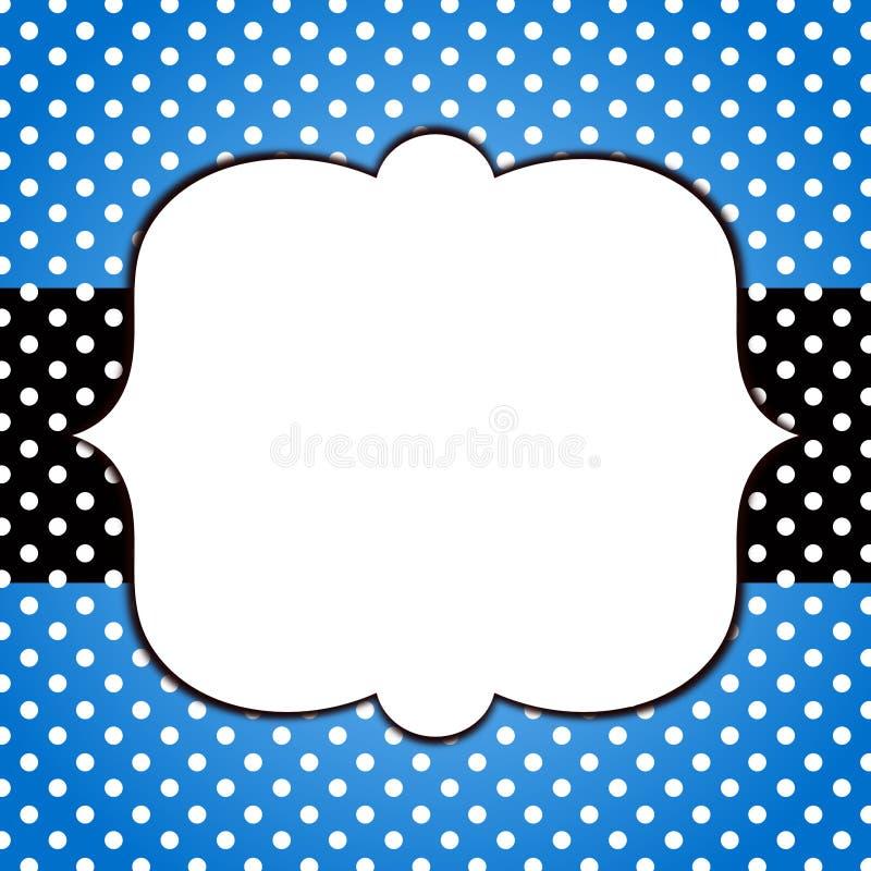 Blue grunge polka dots frame greeting card stock illustration