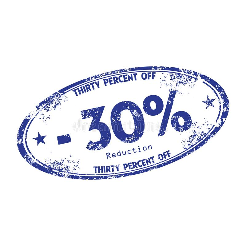 Thirty percent reduction stamp royalty free stock photos