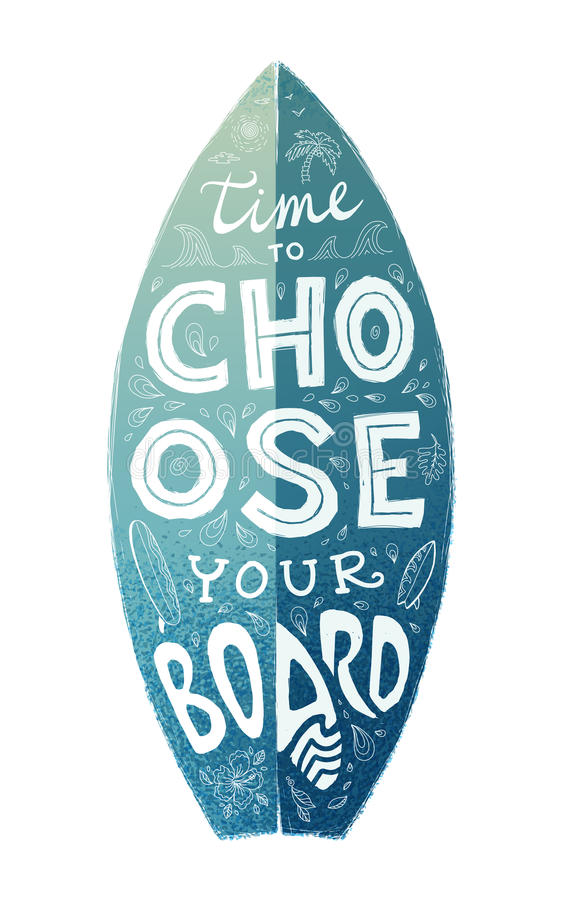 Blue grunge surfboard shape with white hand drawn lettering on it stock illustration