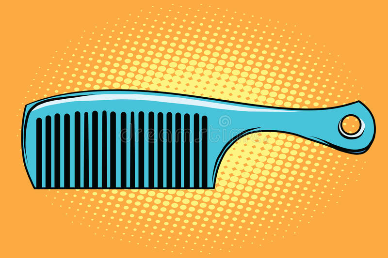 Blue hair comb. Pop art retro vector illustration stock illustration