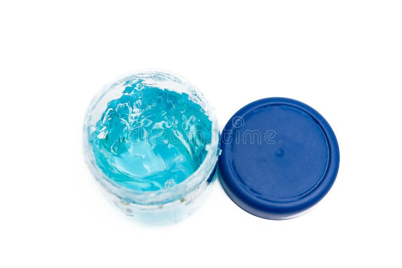 Hair gel. Blue hair gel in the gearbox royalty free stock images